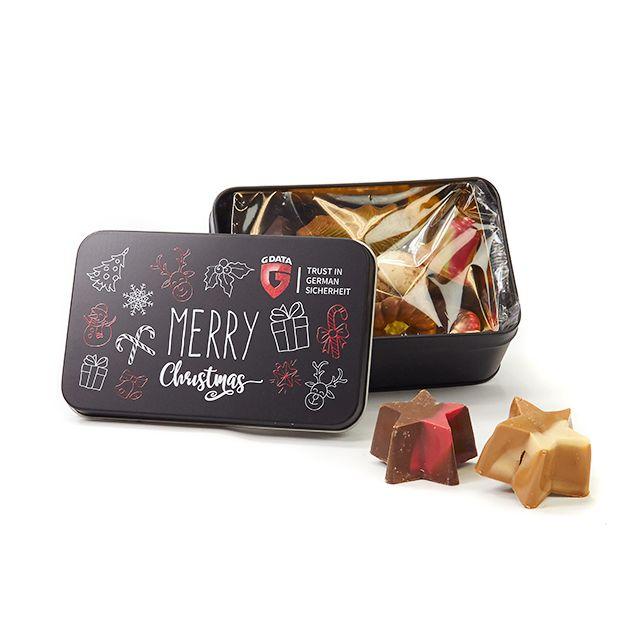 Kerstchocolade in geschenkblik