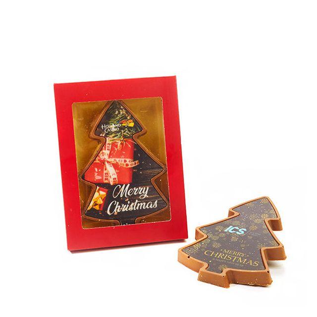 Chocolade Kerstboom met opdruk