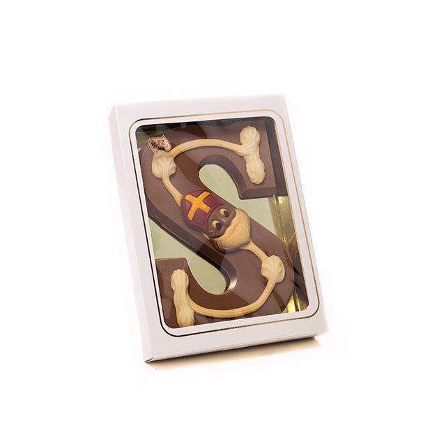 Chocoladeletter S met decoratie, 240 gram