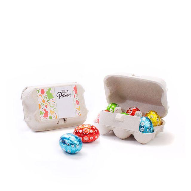Mini eierdoosje met 6 paaseitjes