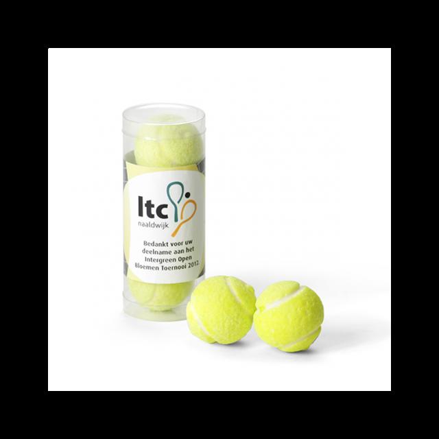 Koker met tennisballen kauwgom