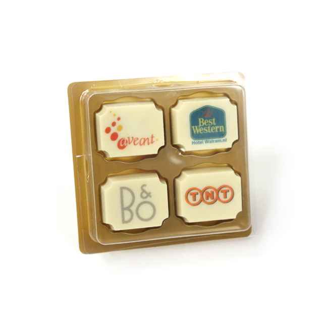 4 logo bonbons in doosje als giveaway