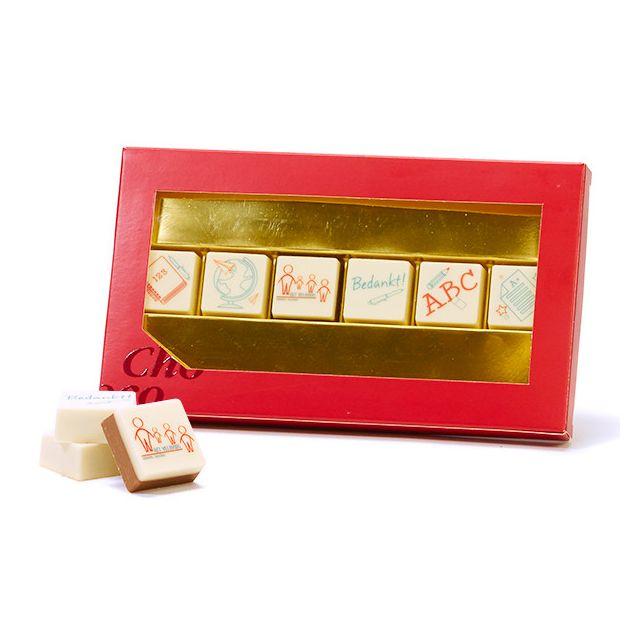 6 logo bonbons in geschenkdoos - Leerkracht