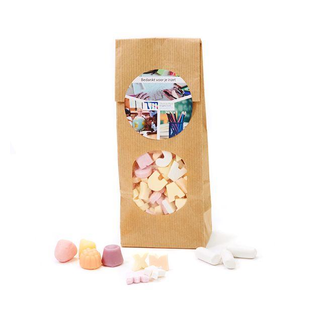 Papieren zakje snoep voor de leerkracht - groot