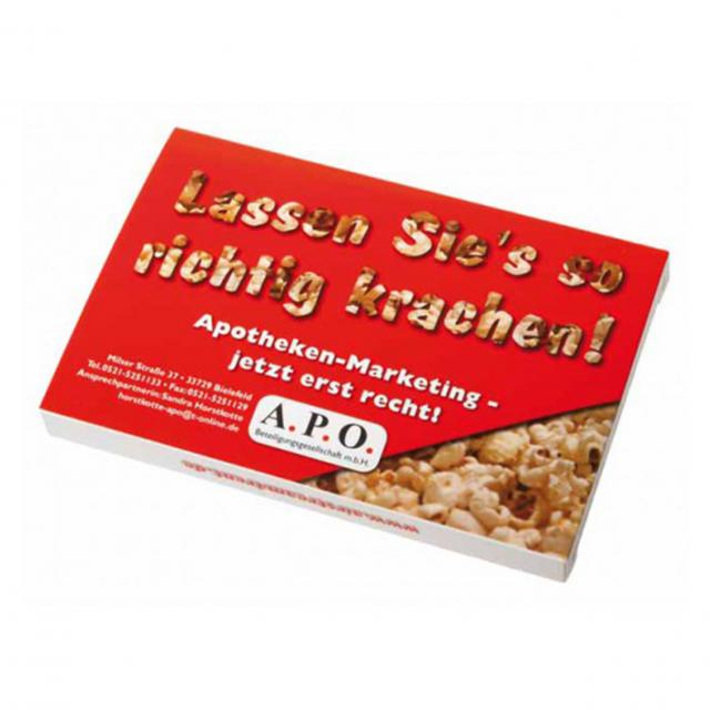 Popcorn in een gepersonaliseerd doosje