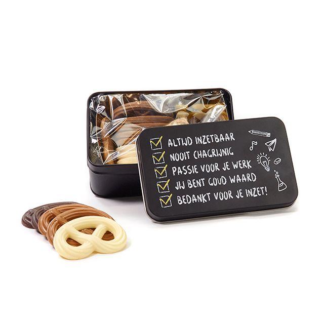 Chocolade in geschenkblik – Leerkracht