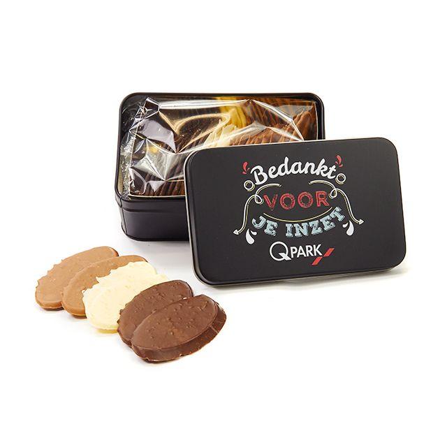 Luxe chocolade in geschenkblik
