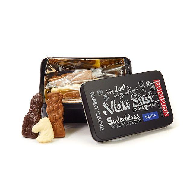 Sinterklaaschocolade in geschenkblik