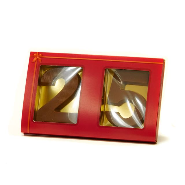 2 chocoladecijfers 0 t/m 9 in sleeve