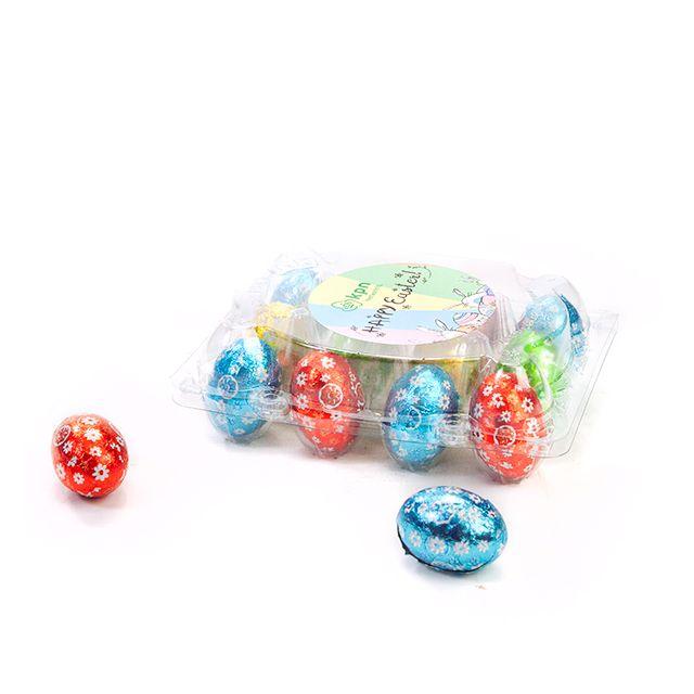 Transparant eierdoosje met paaseitjes