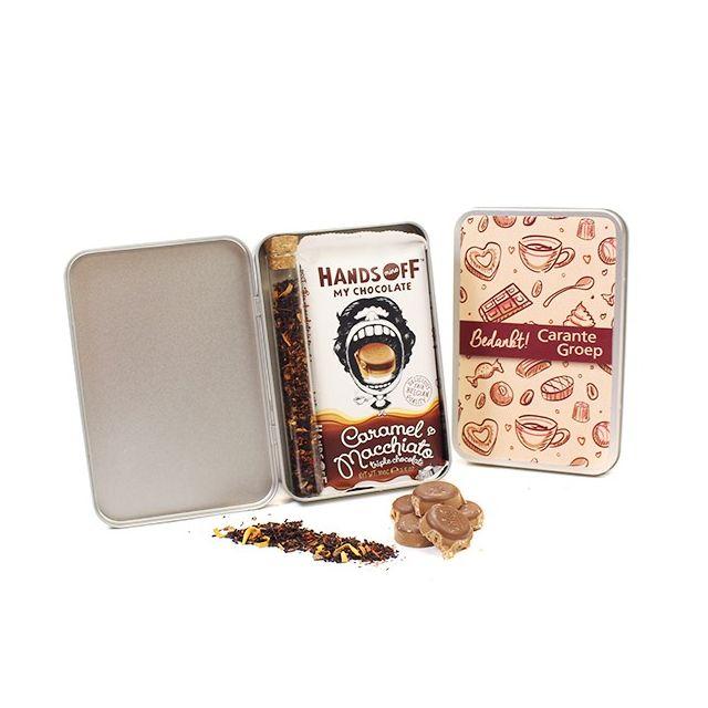 Chocoladereep met thee in geschenkblik