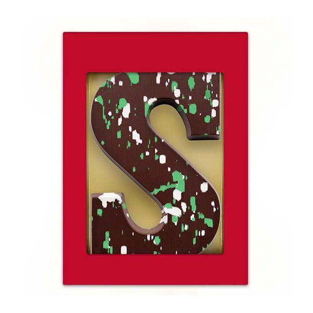 Chocoladeletter Puur met groen/witte decoratie - 200 gram