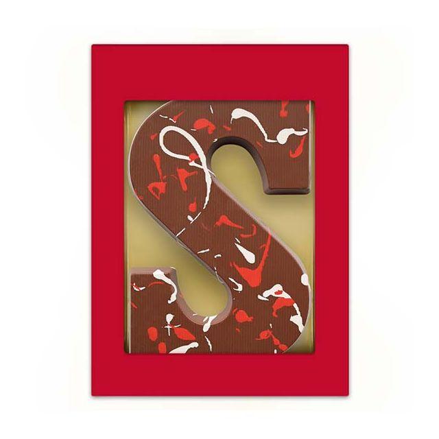 Chocoladeletter S rood-wit - 200 gram