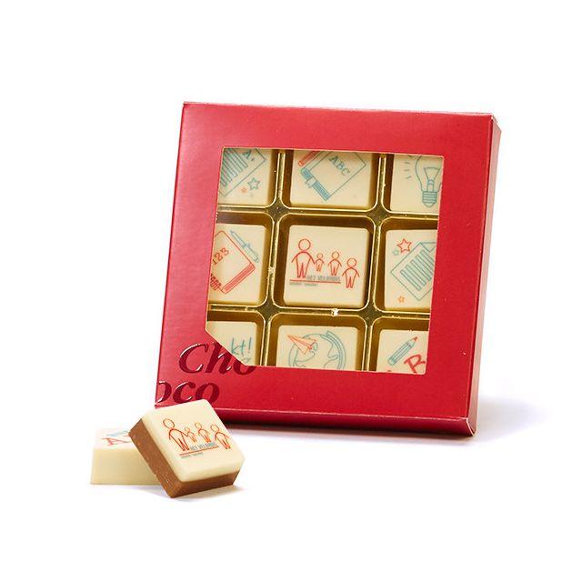 9 logo bonbons in geschenkdoos - Leerkracht
