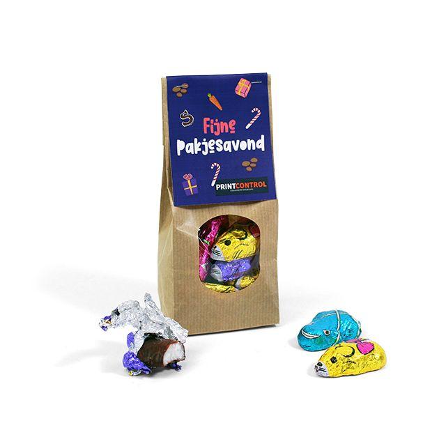 Chocolade kikkers en muizen in zakje