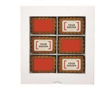 24 gingerbread koekjes met logo in vensterdoos