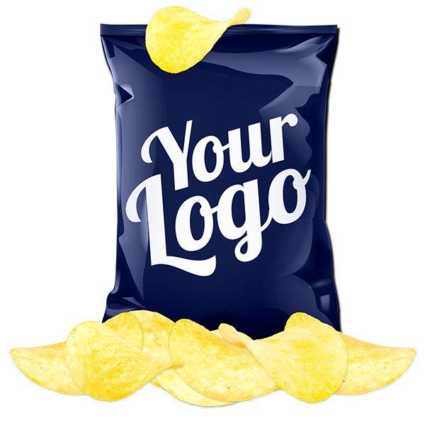 Zakje chips in eigen verpakking