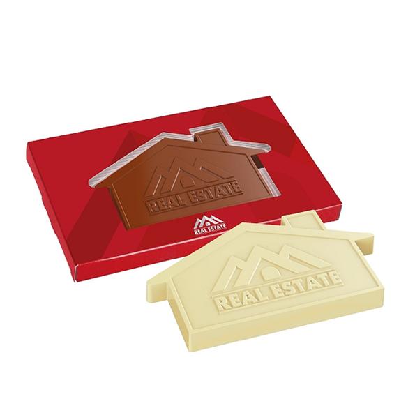 Reliëf chocolade met eigen logo - huis
