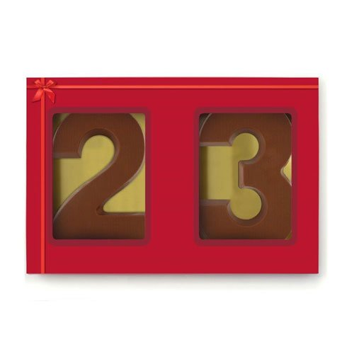 2 cijfers in sleeve chocoladeletter