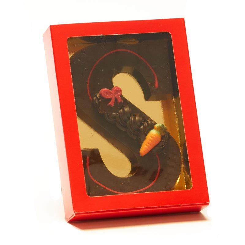 Chocoladeletter S met decoratie, 220 gram