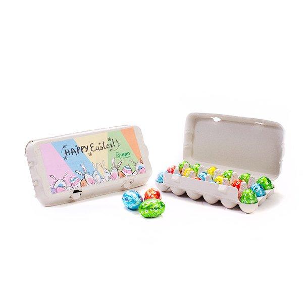 Mini eierdoosje met 18 paaseitjes