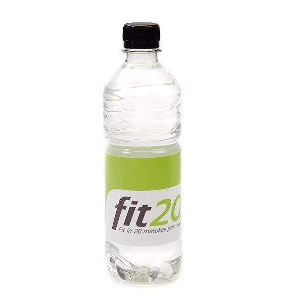 Ribbel flesje met mineraalwater platte dop