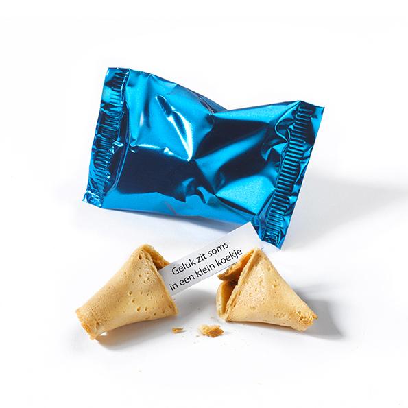 Fortune cookie met standaard spreuken - blauwe folie