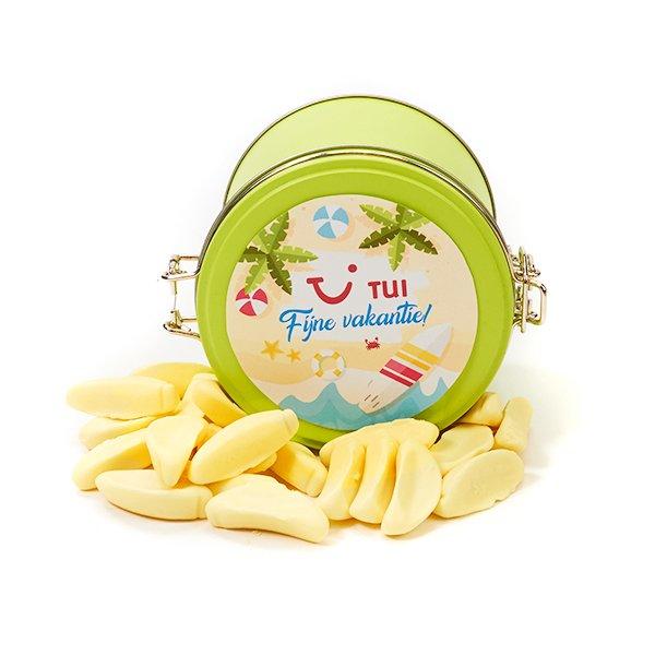 Groen blik met schuim bananen