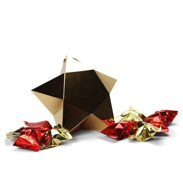 Grote ster met 10 fortune cookies - goud