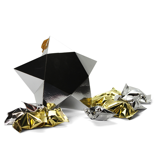 Grote ster met 10 fortune cookies - zilver