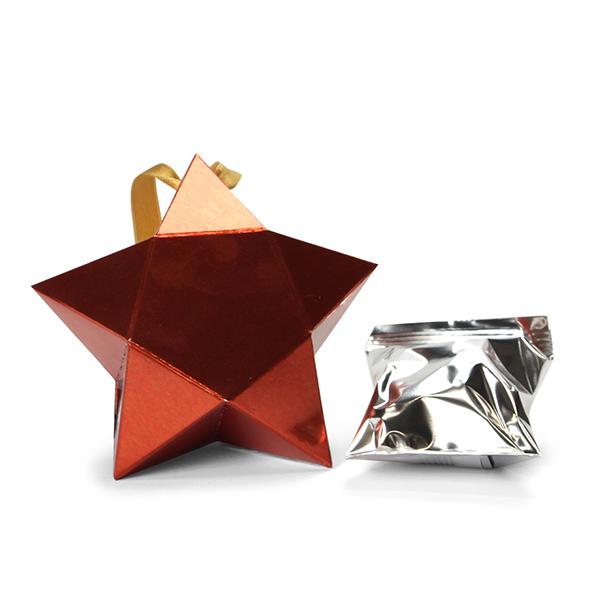 Kleine ster met 1 fortune cookie - Rood
