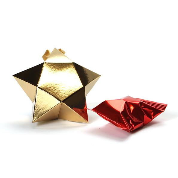 Kleine ster met 1 fortune cookie - Goud