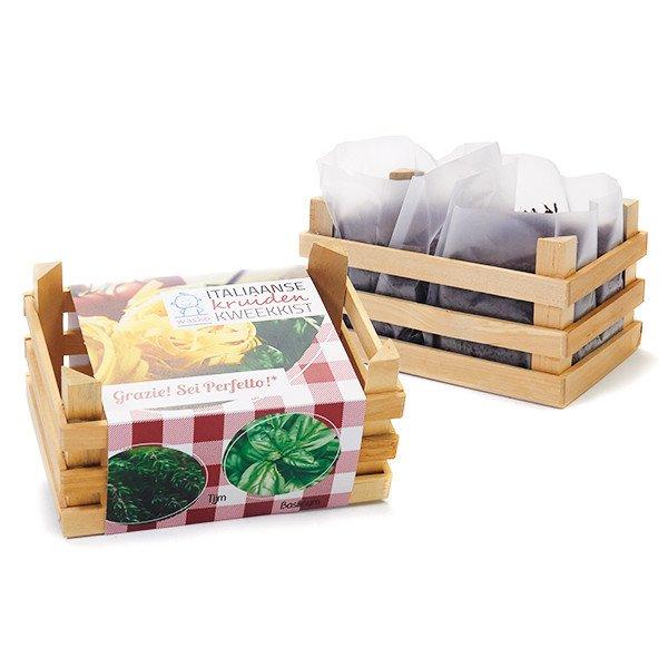 Mooie Houten Box.Italiaanse Kruiden Kweekkistje