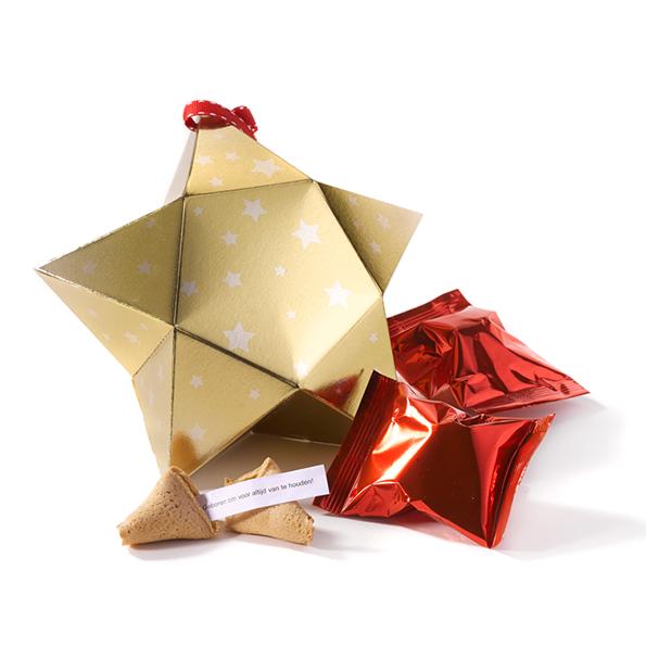 Medium ster met 5 fortune cookies - goud