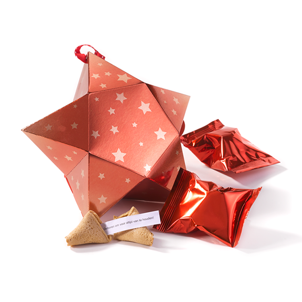 Medium ster met 5 fortune cookies - rood