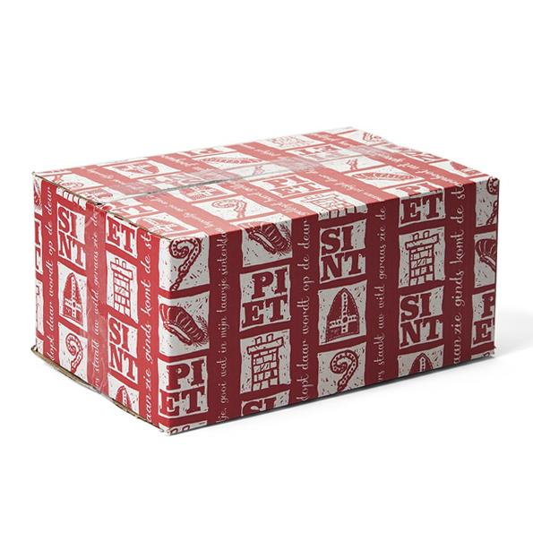 Sinterklaas verzendverpakking - rood/wit