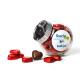 Chocoladehartjes in kleine snoeppot
