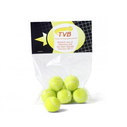 Zakje tennisballen kauwgom - eigen ontwerp topkaartje