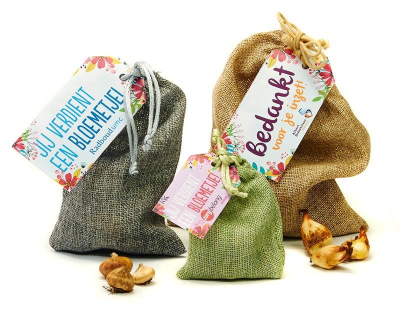 Jute zakje bloembollen - cadeau Dag van de Verpleging