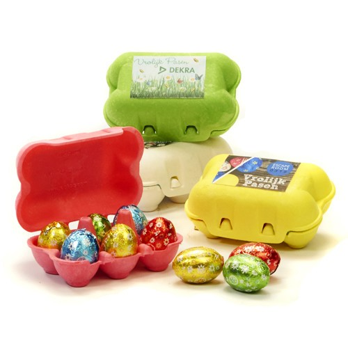 gekleurde eierdoosjes 6 paaseitjes
