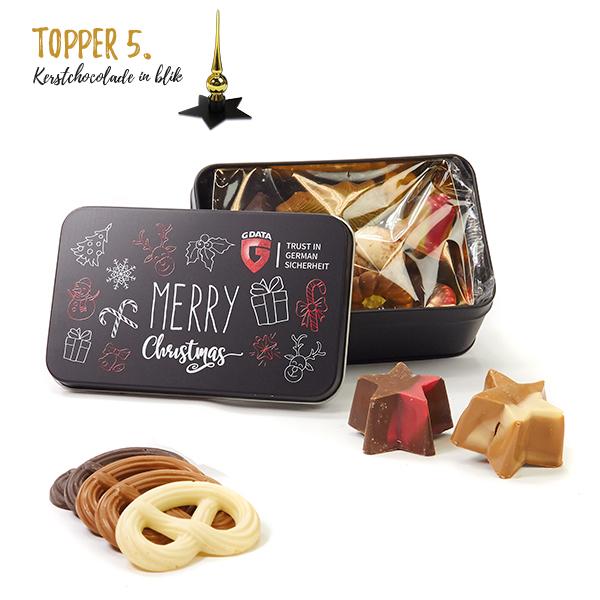 Kerst chocolade in blik